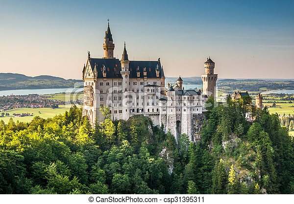 World-famous Neuschwanstein Castle in beautiful evening light, Fussen, Bavaria, Germany