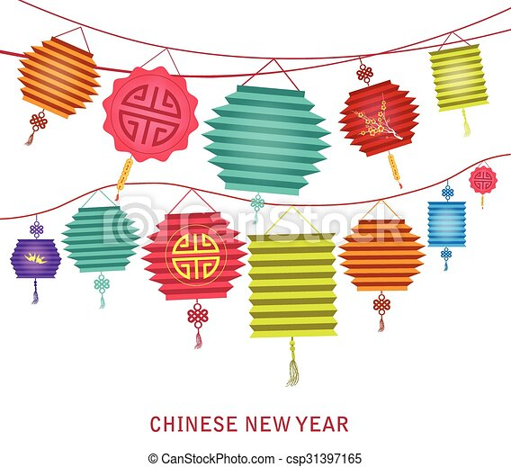 Clip Art Vector of Chinese new year. string of bright ...