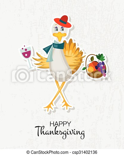 Happy Thanksgiving Day background with hipster turkey