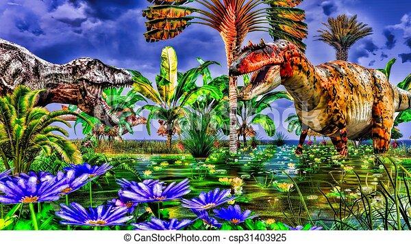 Tropical dinosaur park