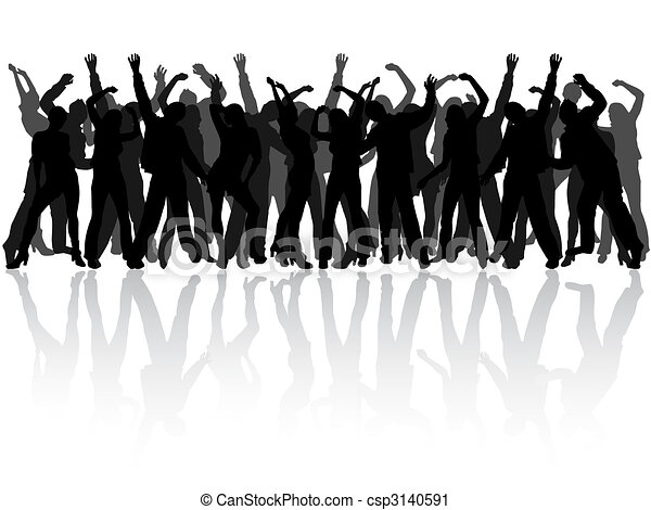 happy people silhouettes - csp3140591