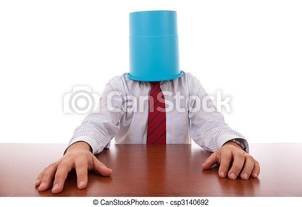 Office, businessman; head; hidden; isolated; Failure,stress; bucket, bizarre; hiding; trash, man; protection; hand; funny; odd; tie; hired; service; support;  employment;business; career; confusion; - csp3140692
