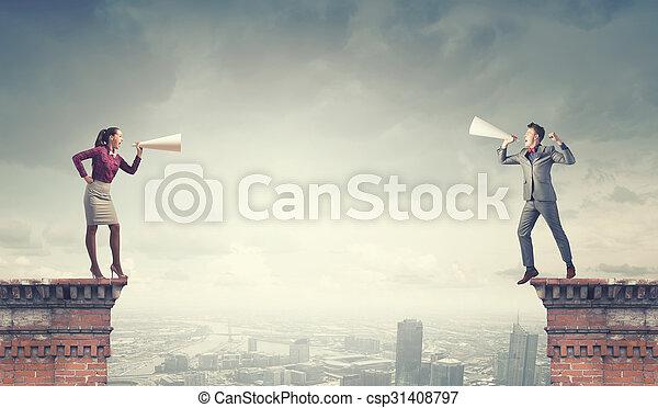 Aggressive communication. Concept image