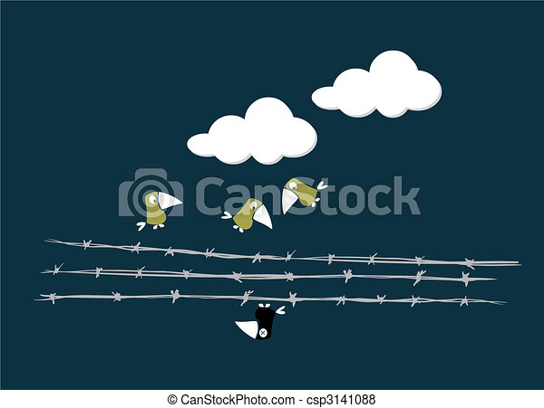 Birds over the wire - csp3141088