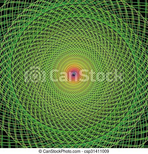 Green fractal spiral background - csp31411009