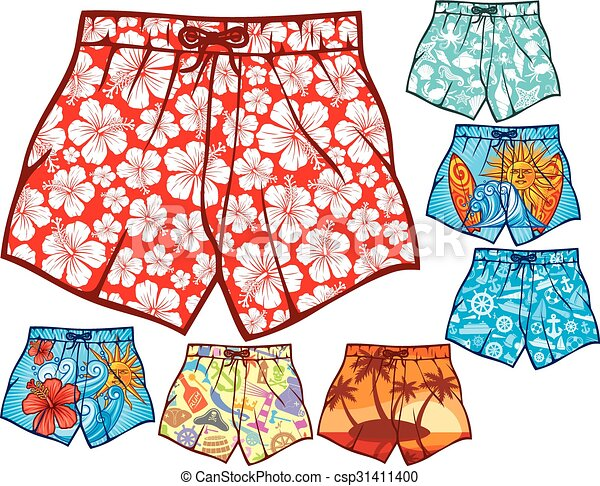 Vector Clipart of swim shorts collection (swimming trunks ...