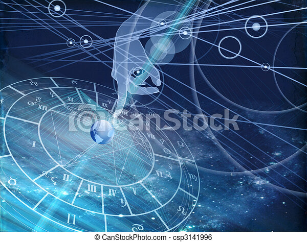 astrological chart on the blue background - csp3141996