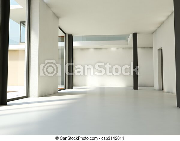 Empty apartment with white walls - csp3142011