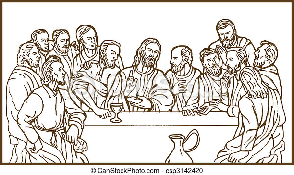 last supper of Jesus Christ the savior and his discplles - csp3142420