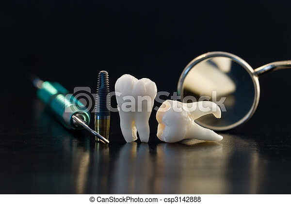 titán, fogászati, beültet - csp3142888