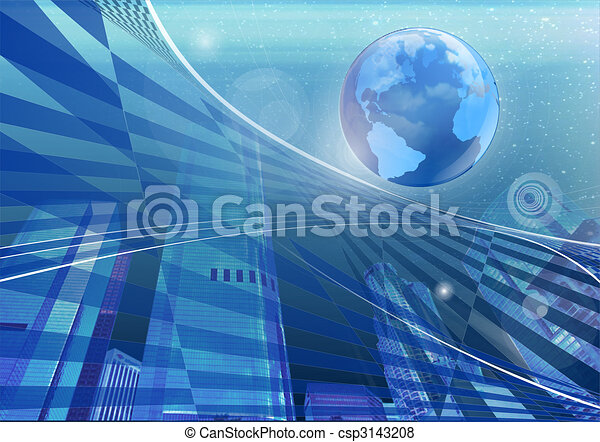 Abstract of a globe and the city - csp3143208