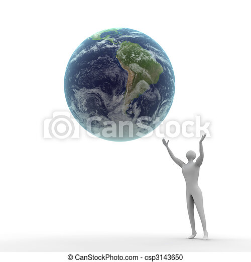 3D Human escapes while the earth from his hands. - csp3143650