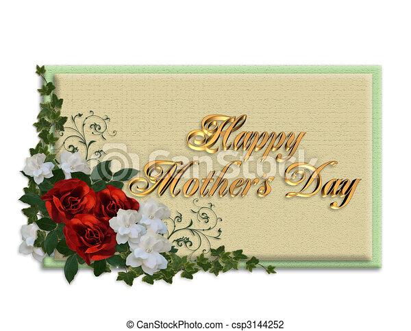Clip Art de rosas, día, tarjeta, madres - imagen, y, Ilustración ...
