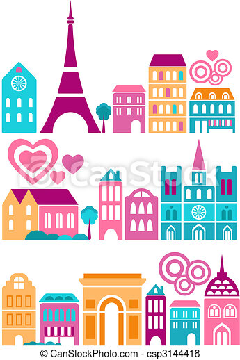 Cute vector illustration of cities of the world - csp3144418