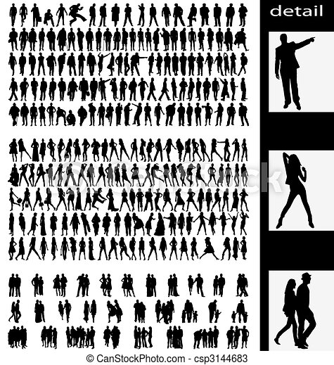 men, woman, goups and couples silhouettes - csp3144683