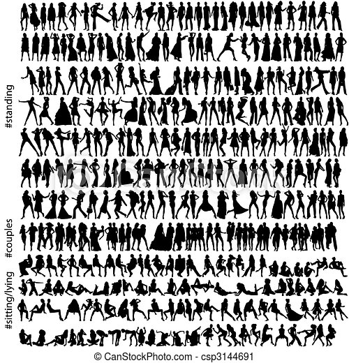 320 fashion silhouettes - csp3144691
