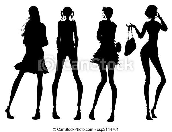 Clipart of Modern girl silhouette - drawing of black modern girl ...