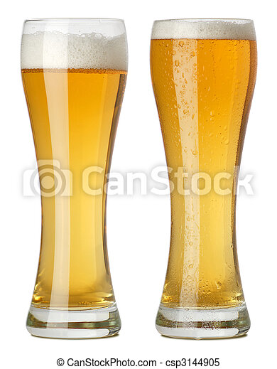Two tall glasses of beer - csp3144905