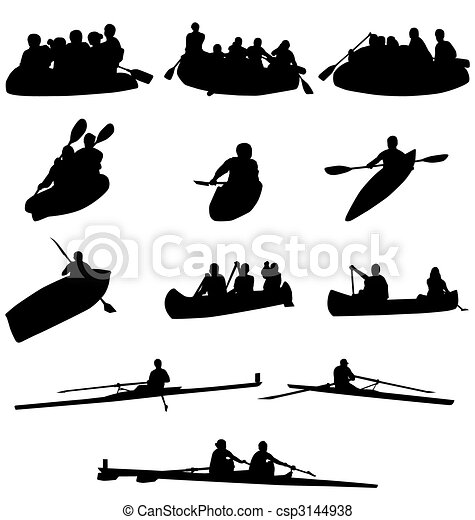 rowing silhouettes collection - csp3144938