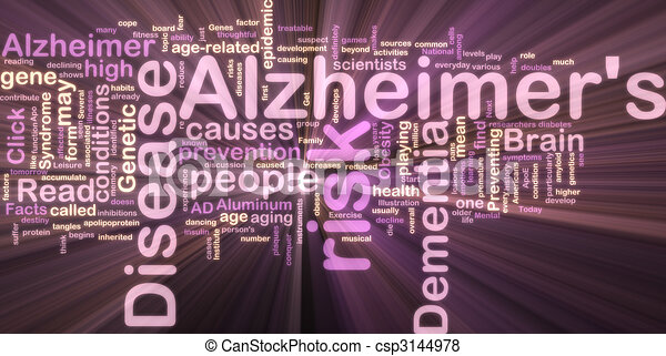 Alzheimer's disease wordcloud glowing - csp3144978
