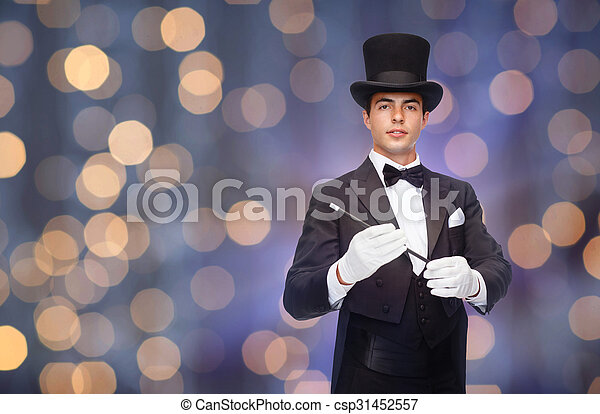 magician in top hat with magic wand