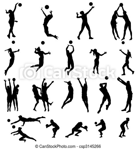 volleyball silhouettes collection - csp3145266