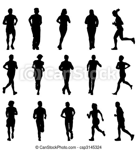 running and walking silhouettes set - csp3145324