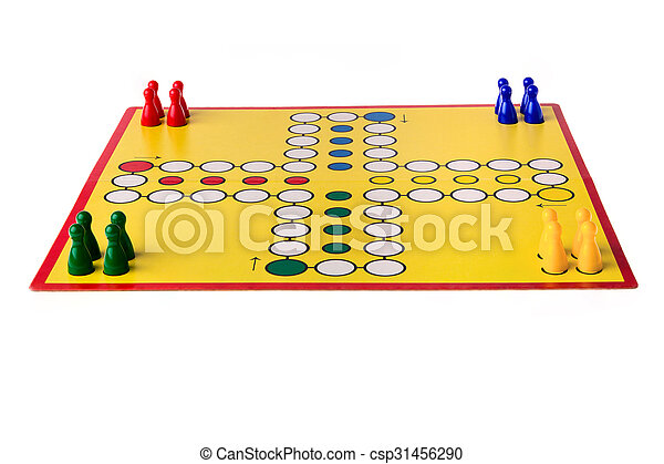 Board game with different colored game pawns on it