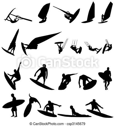 surfer silhouettes set - csp3145679