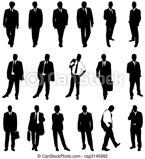 business man silhouettes - csp3145992