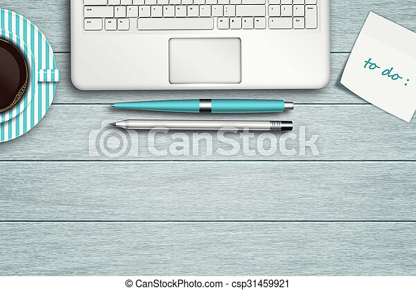 workspace with computer, pen, pencil and cup of coffee