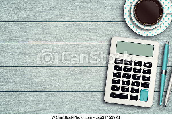 workspace with calculator, pen, pencil and cup of coffee
