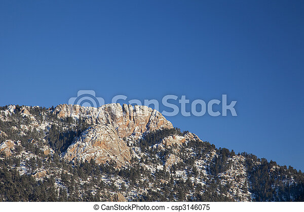 Horsetooth Rock in winter scenery - csp3146075