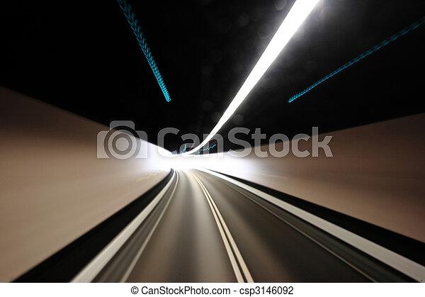 highway tunnel , motion blured - csp3146092