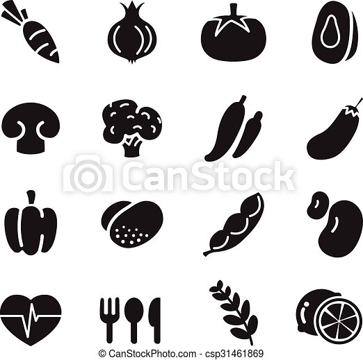 silhouette Vegetable icons set - csp31461869
