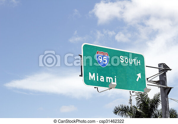 Interstate 95 South to Miami Sign - csp31462322