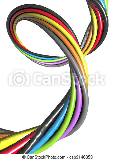 Abstract colourful wire electronic connection concept - csp3146353