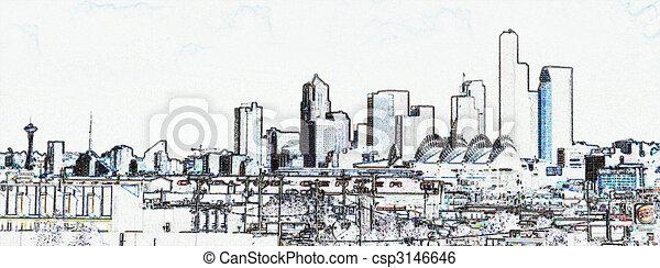Seattle Skyline Drawing View of Seattle Skyline
