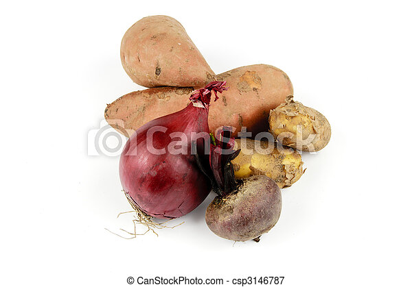Sweet Potato with Beetroot, Onion and Potatoes - csp3146787