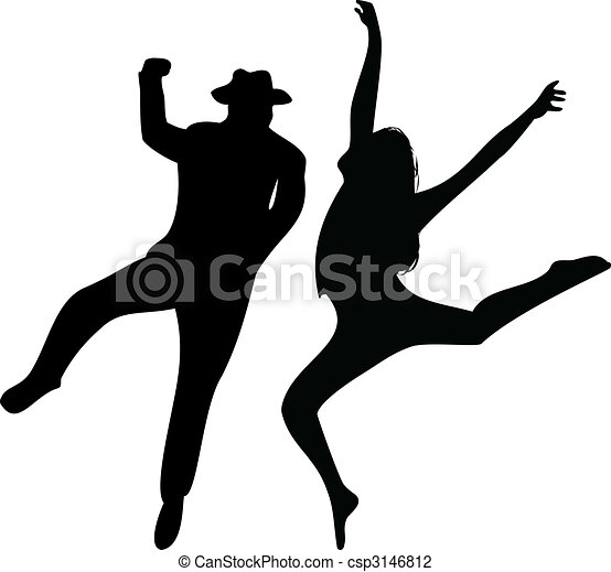 Couple of Dancers Silhouette on white background.  - csp3146812