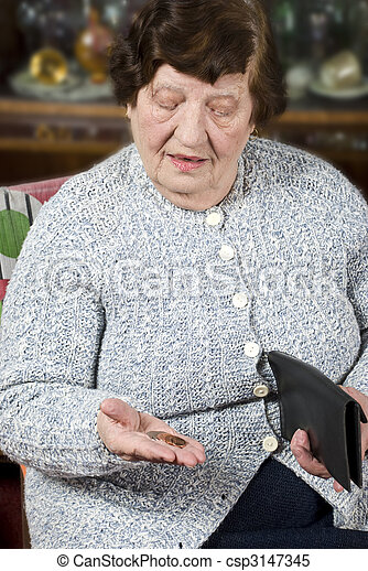 Pensioner counts her last money - csp3147345