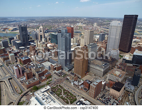 Downtown Pittsburgh Aerial - csp3147400