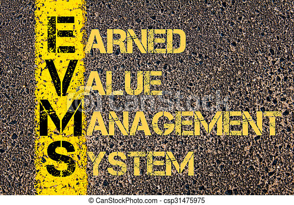 Concept image of Business Acronym EVMS as Earned Value Management System written over road marking yellow paint line.