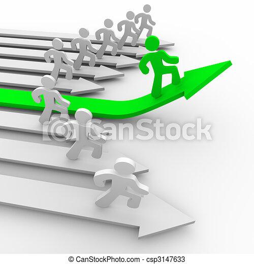 One Runner Pulls Ahead - Green Arrow - csp3147633