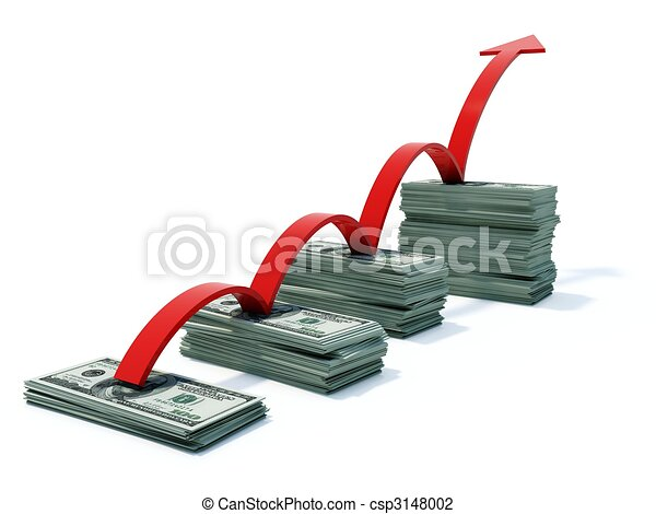 Busines graph with money and arrow - csp3148002