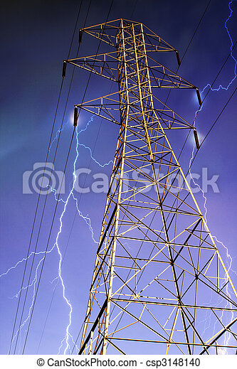 Electricity Pylon with Lightning in Background. - csp3148140