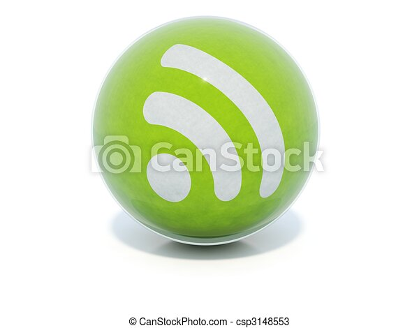 Green glossy RSS icon in glass ball - csp3148553