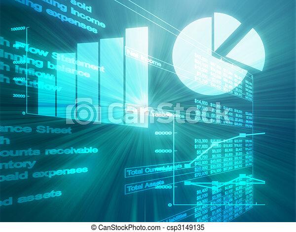 Spreadsheet business charts illustration - csp3149135