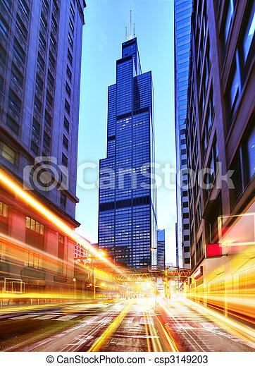 Willis Tower at night time - csp3149203