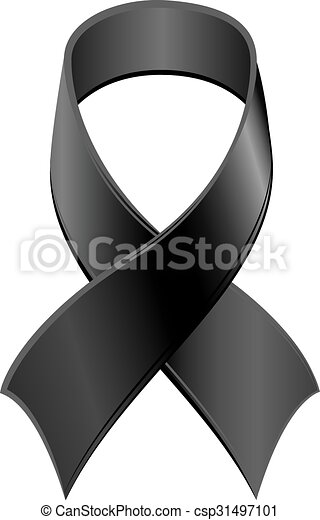Vector Clipart of Black Ribbon symbol Day of Mourning. Isolated on ...